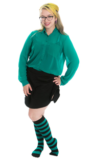 black skirt with teal dress shirt and knee highs