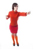 thelma wearing orange knee socks and mary janes