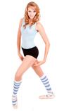 Ballerina with striped blue knee socks