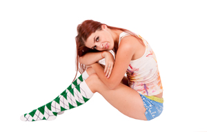 Green argyle knee high socks