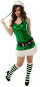 Elf wearing green white striped knee socks