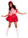 Little Red Riding Hood with pink argyle knee socks