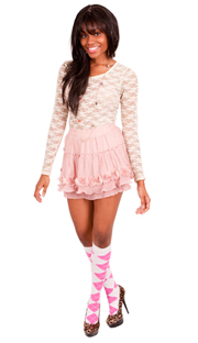 Neon Pink & White Argyle knee socks