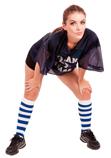 football girl white royal blue striped knee socks