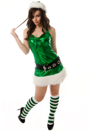 santa elf with green knee socks